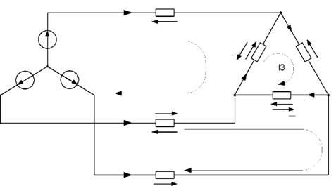 Рисунок 3.23 - Расчетная схема трехфазной цепи при соединении нагрузки в треугольник для метода контурных токов.